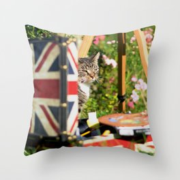 Hidden Cat-Eno Throw Pillow