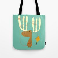 canada Tote Bags featuring A moose ing by Picomodi