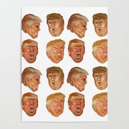 Fake News Faces of Donald Trump Poster