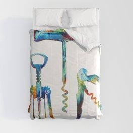 Uncork It - Wine Corkscrew Art - Sharon Cummings Comforters