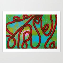 """Galactic Ribbon"" (Cherry/Lime) Digital Painting // Fine Art Print Art Print"