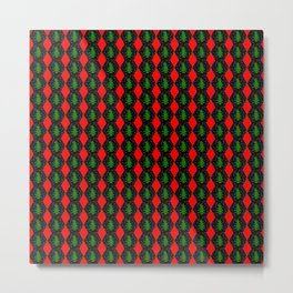 Pattern of christmas hexagons and trees Metal Print