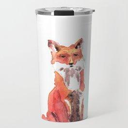 red fox in watercolor Travel Mug