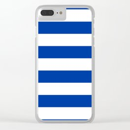 Dark Princess Blue and White Wide Horizontal Cabana Tent Stripe Clear iPhone Case