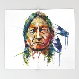 Sitting Bull watercolor painting Throw Blanket