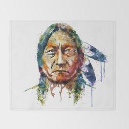 Sitting Bull watercolor painting Throw Blanket
