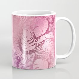 Iridescent Tropical Leaves in Pink and Pastels Coffee Mug