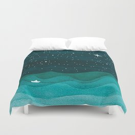 Starry Ocean, teal sailboat watercolor sea waves night Duvet Cover