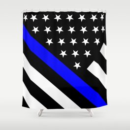Police Flag: The Thin Blue Line Shower Curtain