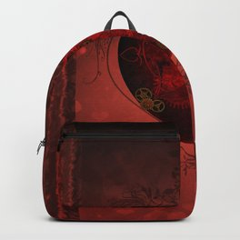 Wonderful steampunk heart on vintage background Backpack