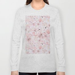 Flamingo and Tropical Flower Pattern Long Sleeve T-shirt