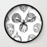 girls Wall Clocks featuring Girls by Young Ju