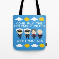 cabin pressure Tote Bags featuring Cabin Pressure: The Lemon is With You by Le Bear Polar