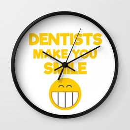 Dentists Make You Smile Smiley Face Wall Clock