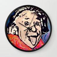 einstein Wall Clocks featuring Einstein by Paola Gonzalez