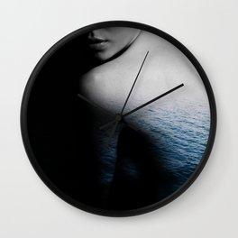 Girl, Model, Fashion, Water, Blue, Sea, Ocean, Modern, Minimal Wall Clock