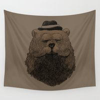 beard Wall Tapestries featuring Grizzly Beard by Alex Solis