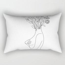 Minimal Line Bloom Rectangular Pillow