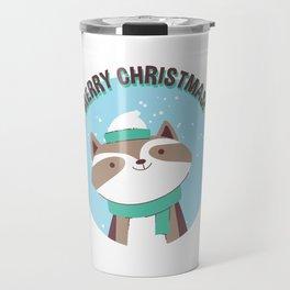 Merry Christmas Raccoon Travel Mug