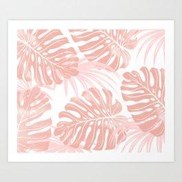 Blush Tropical Leaves Art Print