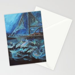Sailing on the Neil James at night Stationery Cards