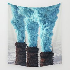 Blue Pollution Wall Tapestry