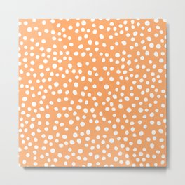 Orange and white doodle dots Metal Print