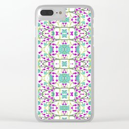 Colorful Modern Floral Pattern Clear iPhone Case