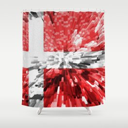 Extruded Flag of Denmark Shower Curtain