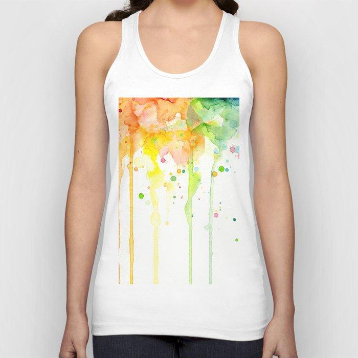 Rainbow Watercolor Pattern Texture Unisex Tank Top