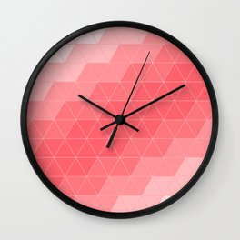 Coral Red Triangles Wall Clock