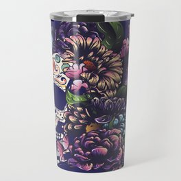 Day of the dead floral sugar skull with flowers colorful design Travel Mug