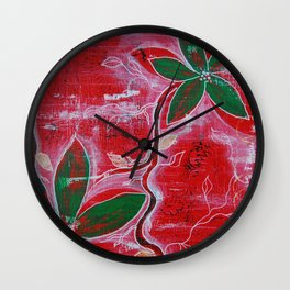 Red and green foliage fine art painting Wall Clock