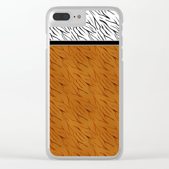 Yellow black tiger pattern . Clear iPhone Case