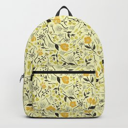 Yellow, Green & Black Floral/Botanical Pattern Backpack