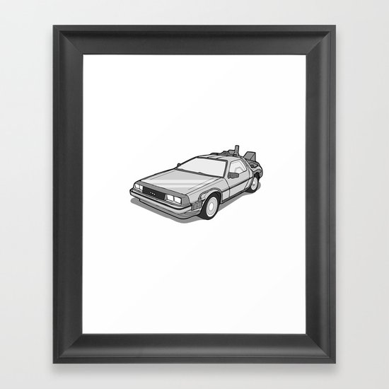 Back to the Future Delorean illustration Framed Art Print