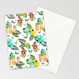 Tropical green pink yellow watercolor hand painted hawaiian floral Stationery Cards