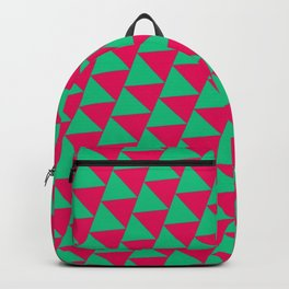 Green and pink triangle graphic Backpack