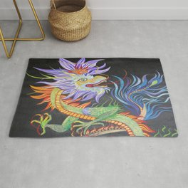 Bright and Vivid Chinese Fire Dragon Rug