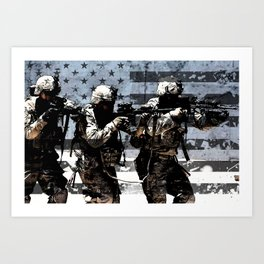 3 Soldiers & US Flag Art Print