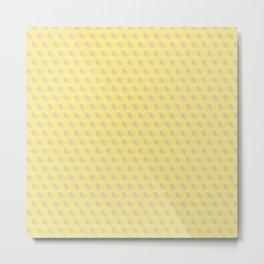 Yellow Honey Cube Pattern Metal Print