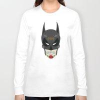 superheros Long Sleeve T-shirts featuring Bat-Man Sugar Skull by Clark Street Press