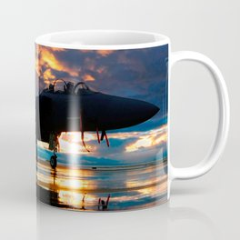 Fighter Jet Airplane at Sunset Military Gifts Coffee Mug