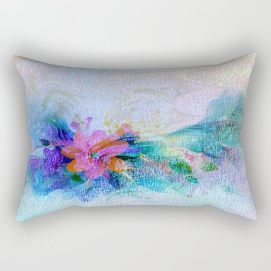 Soft Shaded Floral Abstract Rectangular Pillow