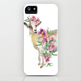 goat with flower crown iPhone Case