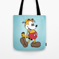 garfield Tote Bags featuring Mickey x Garfield  by Nicholas Hyde