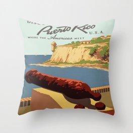 Vintage poster - Puerto Rico Throw Pillow