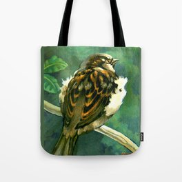 Sparrow in Puriri Tree Tote Bag