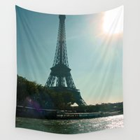 eiffel tower Wall Tapestries featuring Eiffel Tower by Gel Pavone