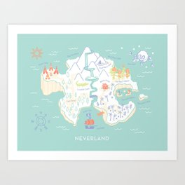 Neverland Map - Full Color Art Print